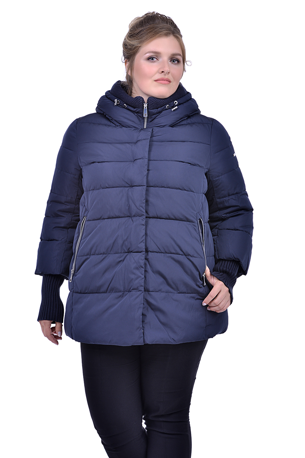 картинка 17-2 DLF 3088 PADDING JACKET (BATTAL) NAVY BLUE пуховик (биопух) жен (2XL-5XL) 4 от магазина Одежда+